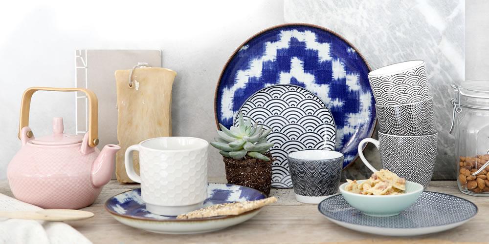 Tokyo Design Studio Blue Oribe, Karakusa, Seigaiha, Soshun White