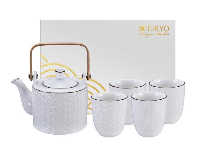 ☯ Tea Set, Nippon White, 5pcs, Item No  16449 - TDS
