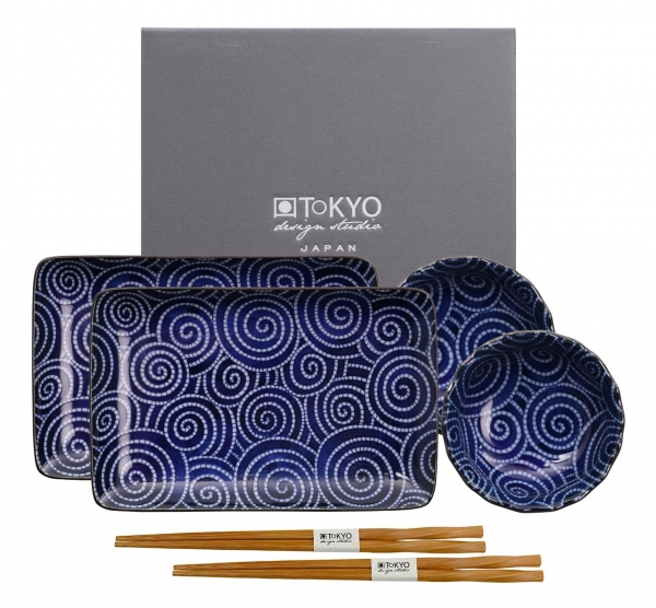 TDS, Sushi Set, Floral Blue, Art.-Nr. 14347