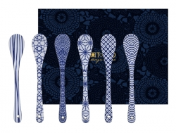 TDS, Spoon Set, 6 pcs, Nippon Blue, 13 cm, Item No. 15646