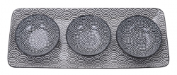 TDS, Giftset Plate with 3 Sauce Dishes, Nippon Black, 4 pcs., Ø 9,5 cm, Item No. 15623