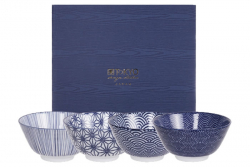 TDS, Rice Bowls, Nippon Blue, 4 pcs., Ø 12 cm, Item No. 16040