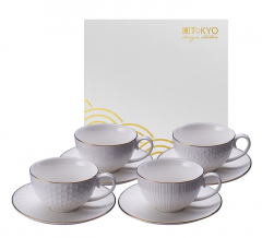 TDS, Mug Set with saucers, 4 pcs, Nippon White, 250 ml, Item No. 16984