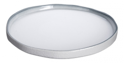 TDS, Plate, White Grey Rim, Ø 22.8 cm, Item No. 17365