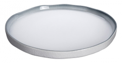 TDS, Plate, White Grey Rim, Ø 26.7 cm, Item No. 17366