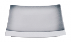 TDS, Plate, White Grey Rim, 14.5x14.5 cm, Item No. 17374