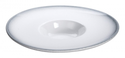 TDS, Plate, White Grey Rim, Ø 23.5 cm, Item No. 17376
