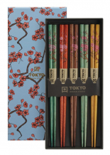 TDS, Chopstick Set, Sakura, 5 pair, 22,5 cm, Item No. 17862