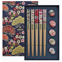 TDS, Chopstick Set, Floral incl. chopstick rests, 5 pair, 22,5 cm, Item No. 17905